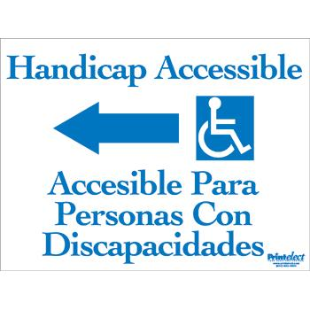 Bilingual Handicap Accessible Sign (With Arrow & Access Symbol) (English/spanish) (Model 1572)